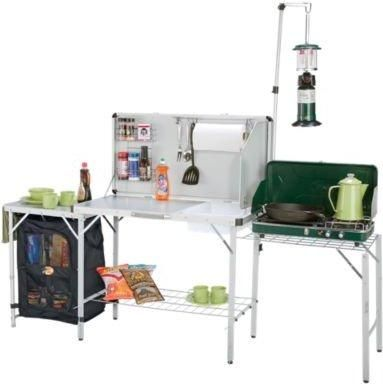 Pack-Away Outdoor Camping Kitchen-portable with lantern hanger and sink-Gear