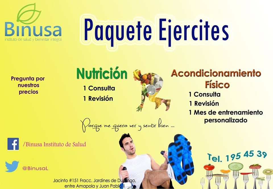 Ya vienen las vacaciones y no haz logrado el cuerpo que deseas, Binusa te ofrece el paquete acondicionamiento físico + nutrición para llegues rápidamente a tus metas. Te esperamos