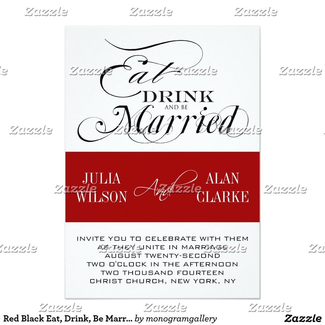 Red Black Eat, Drink, Be Married Wedding Invite | Red black, Wedding ...
