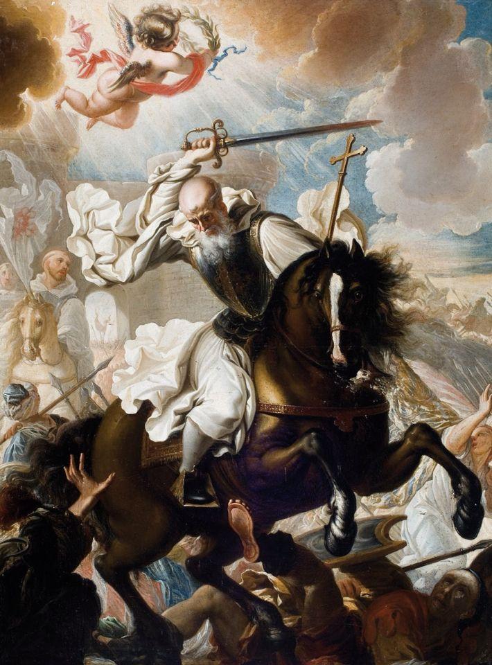 theraccolta: Miguel Jacinto Meléndez, S. Raimondo abate di Fitero, fondatore dell'Ordine di Calatrava, a cavallo contro i Mori, 1730 circa, Iglesia de San Andrés, Calahorra