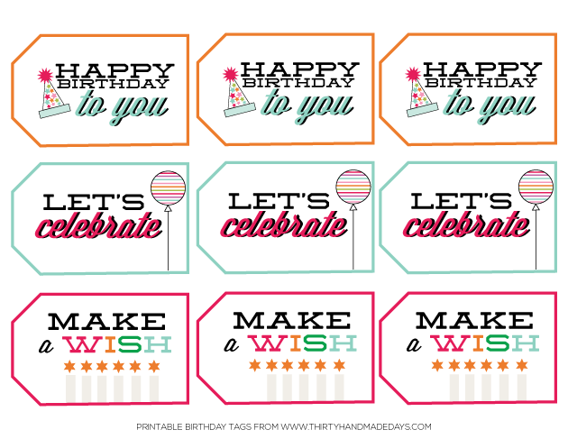Birthday printables tag thank you notes printable tags birthday printable tags from thirtyhandmadedays negle Images