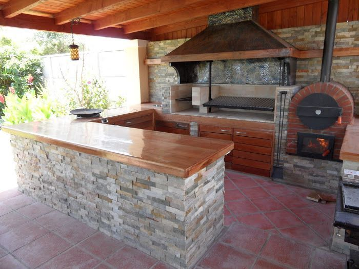 Interior de barbacoa con piedra y semicerrada ideas para for Barbacoa patio interior