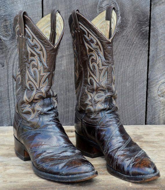 4ee1511999c Larry Mahan Vintage Cowboy Boots Eel Skin Brown Tan Blue Men's 10.5 ...