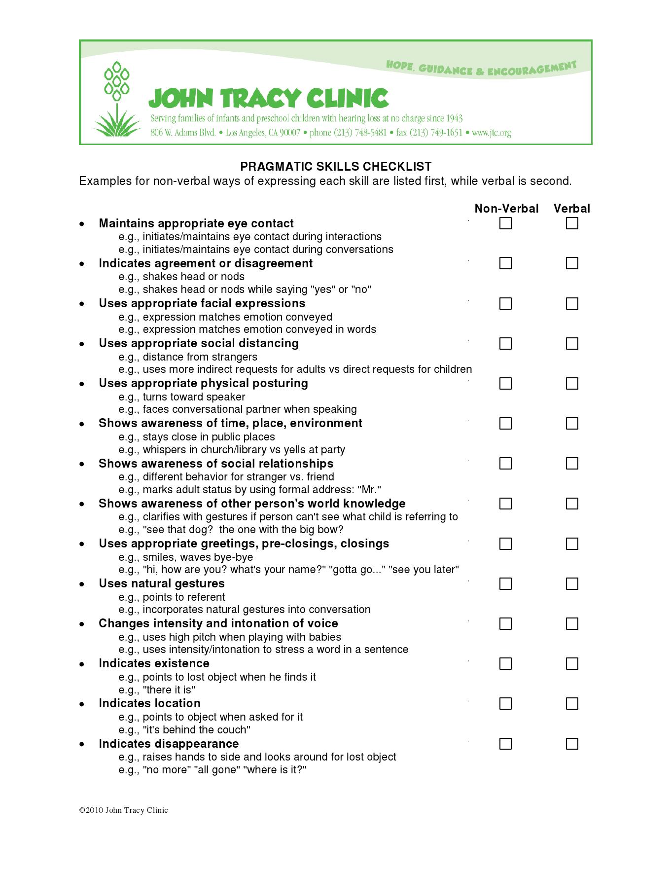 work skills checklist