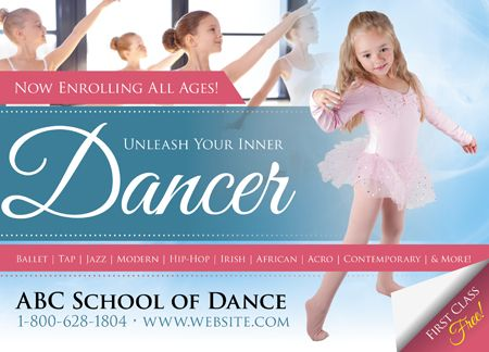10 Brilliant Dance Studio Postcard Marketing Advertising Examples This Board Will Cover Everything In Dance S Dance Studio Studio Marketing Salsa Dance Lessons