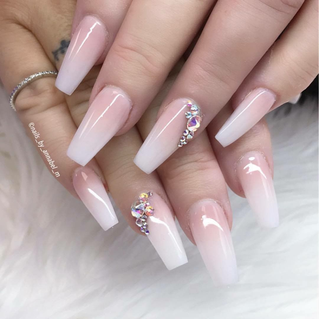 pink & white ombr nails with rhinestones