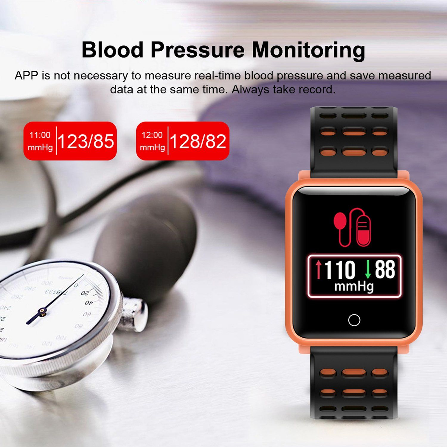 6747d0aac Smart Watches IP68 Waterproof Sports Fitness Tracker with Heart Rate Blood  Pressure Monitor for Men Women