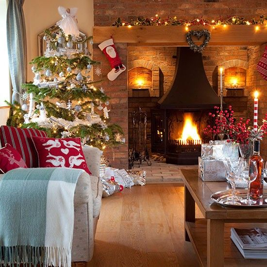Christmas Living Room With Brick Fireplace Decorating Ideal Home Christmas Living Rooms Christmas Home Christmas Interiors