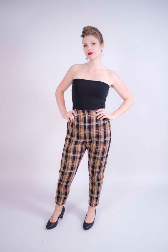 1950s 1960s high waisted pants . wool plaid tapered ...