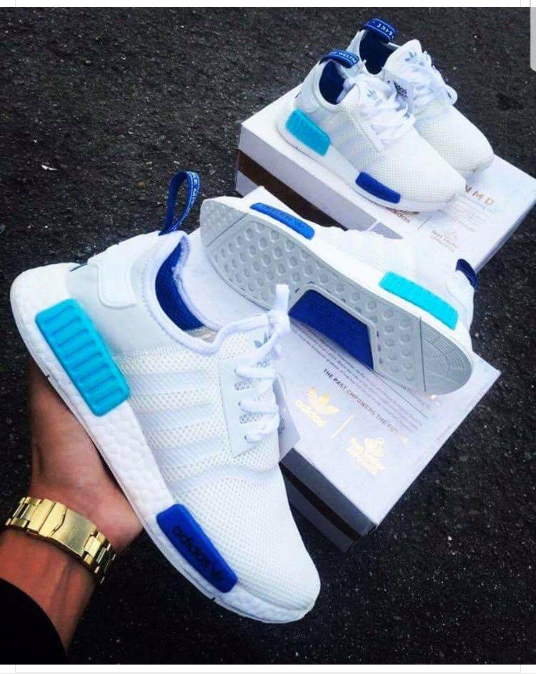 sports shoes dae04 5cd12 Adidas NMD R1 White Blue Glow