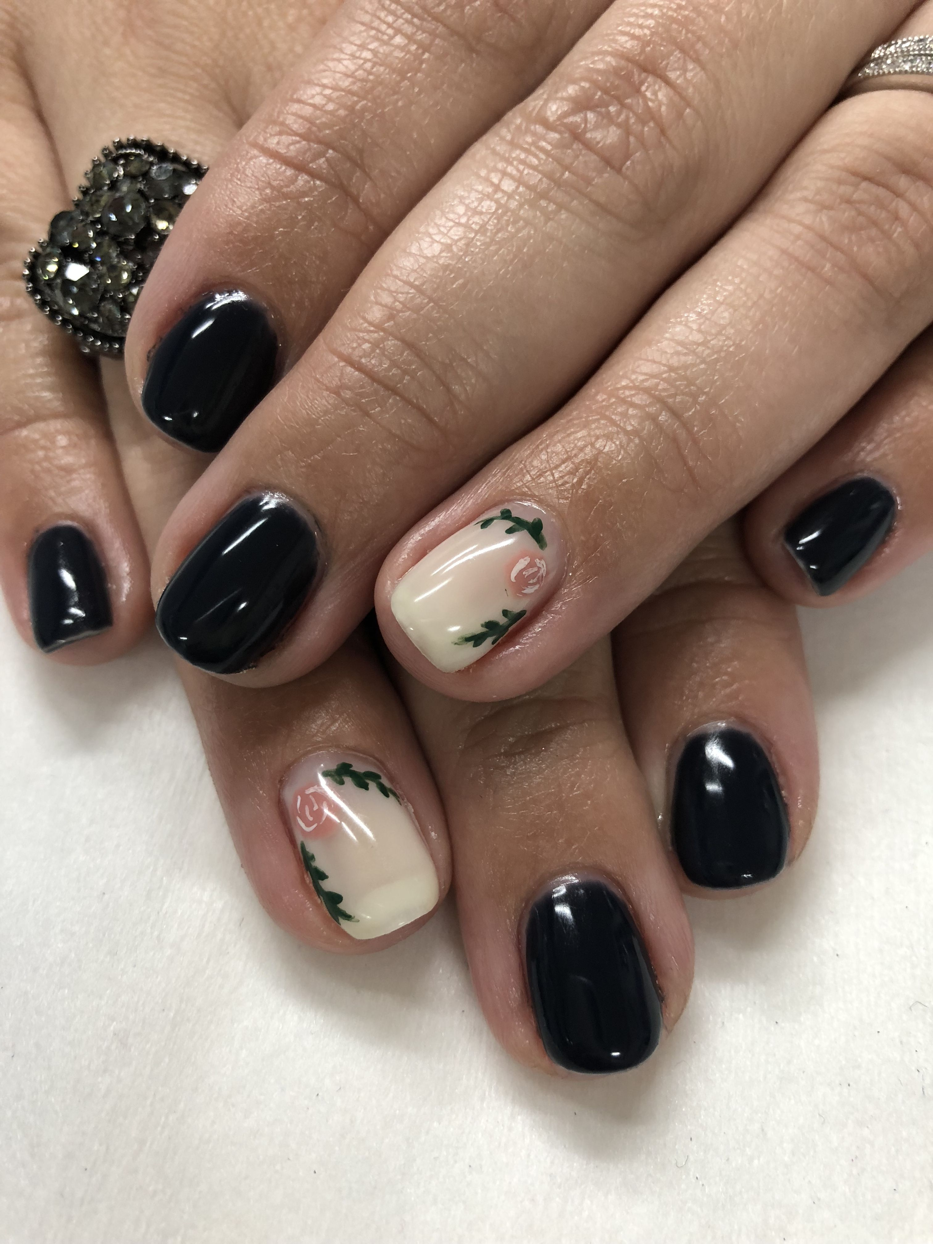 Spring rose and dark dusty Blue Gel Nails | Gel Nail designs ...