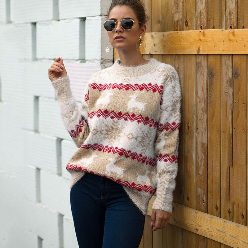 Deer Snowflake Knit Christmas Sweater Womens   Women