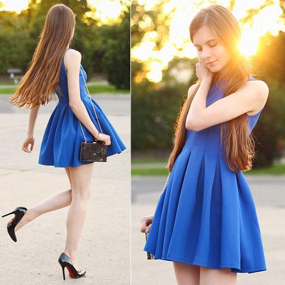 Blue Dress, Black Lace Plastic Bag