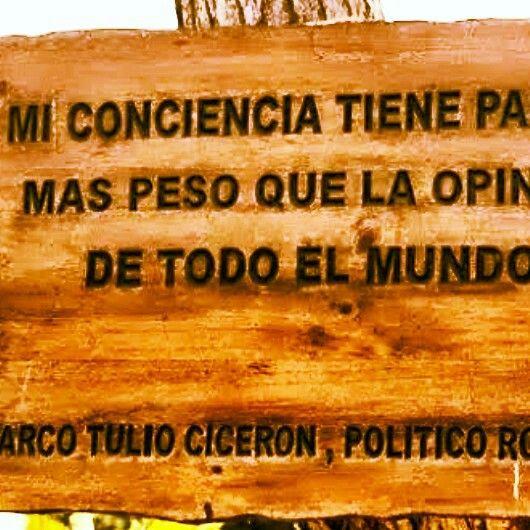 Mi conciencia tiene para mí más peso que la opinión de todo el mundo - Marco Tulio Cicerón.