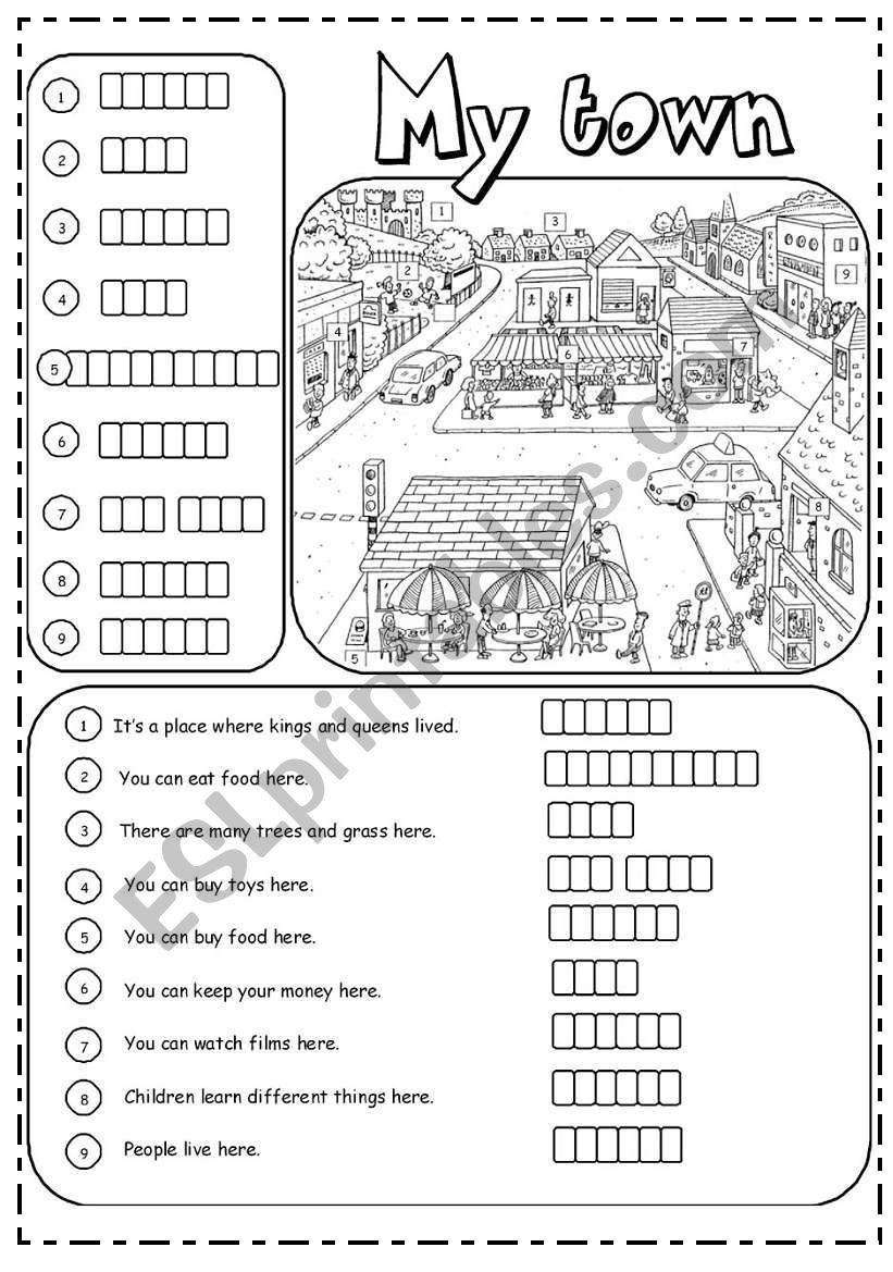 Places in town (2/3) worksheet | Education | Vocabulary worksheets ...