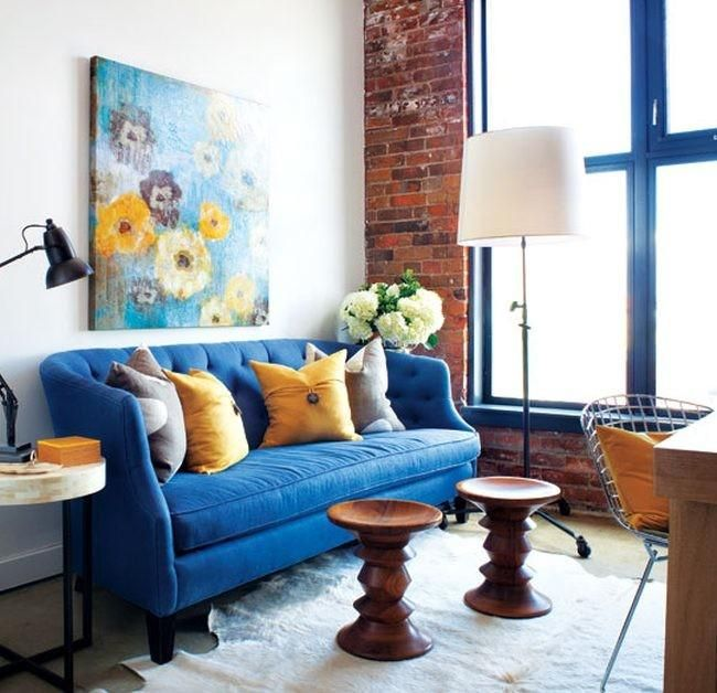 Blue velvet ¿lo mejor para el sofá? Espacios Pinterest - unbehandelte ziegelwand