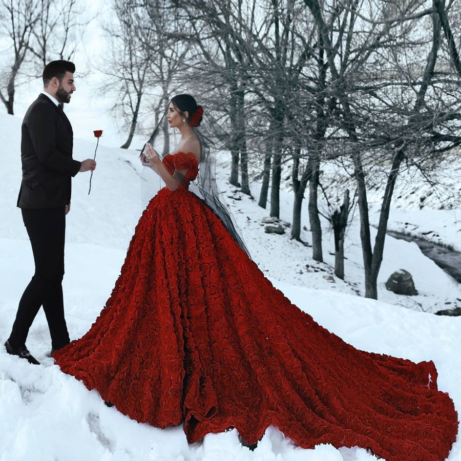 Red 3d Rosettes Off Shoulder Engagement Prom Gown Red Wedding Gowns Red Wedding Dresses Short Sleeve Wedding Dress [ 900 x 900 Pixel ]