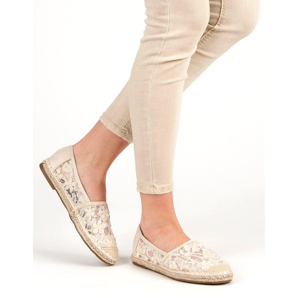Nio Nio Koronkowe Espadryle W Kwiaty Brazowe Shoes Mule Shoe Slippers
