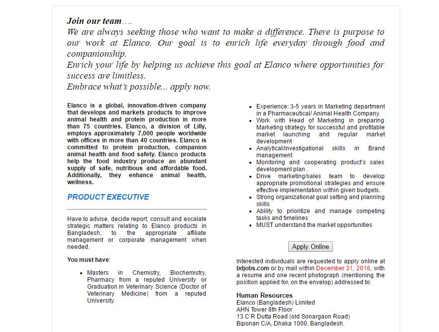 Elanco Bangladesh Limited Product Executive Job Circular 2017 - sales and marketing job description