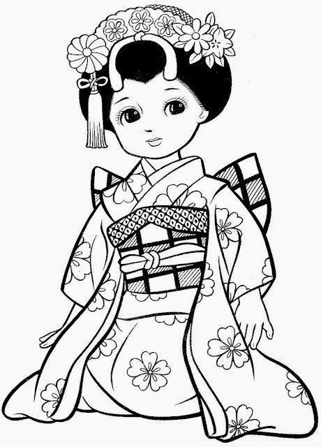 Desenhos De Meninas Japonesas Para Colorir Pintar Imprimir Com