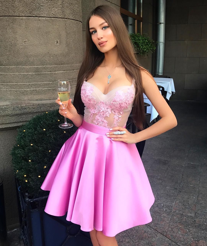 Pink Satin Appliques Prom Dresses Short Homecoming Dresses A-line ...