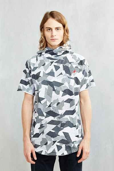 Staple Deco Block Hooded Short Sleeve Sweatshirt