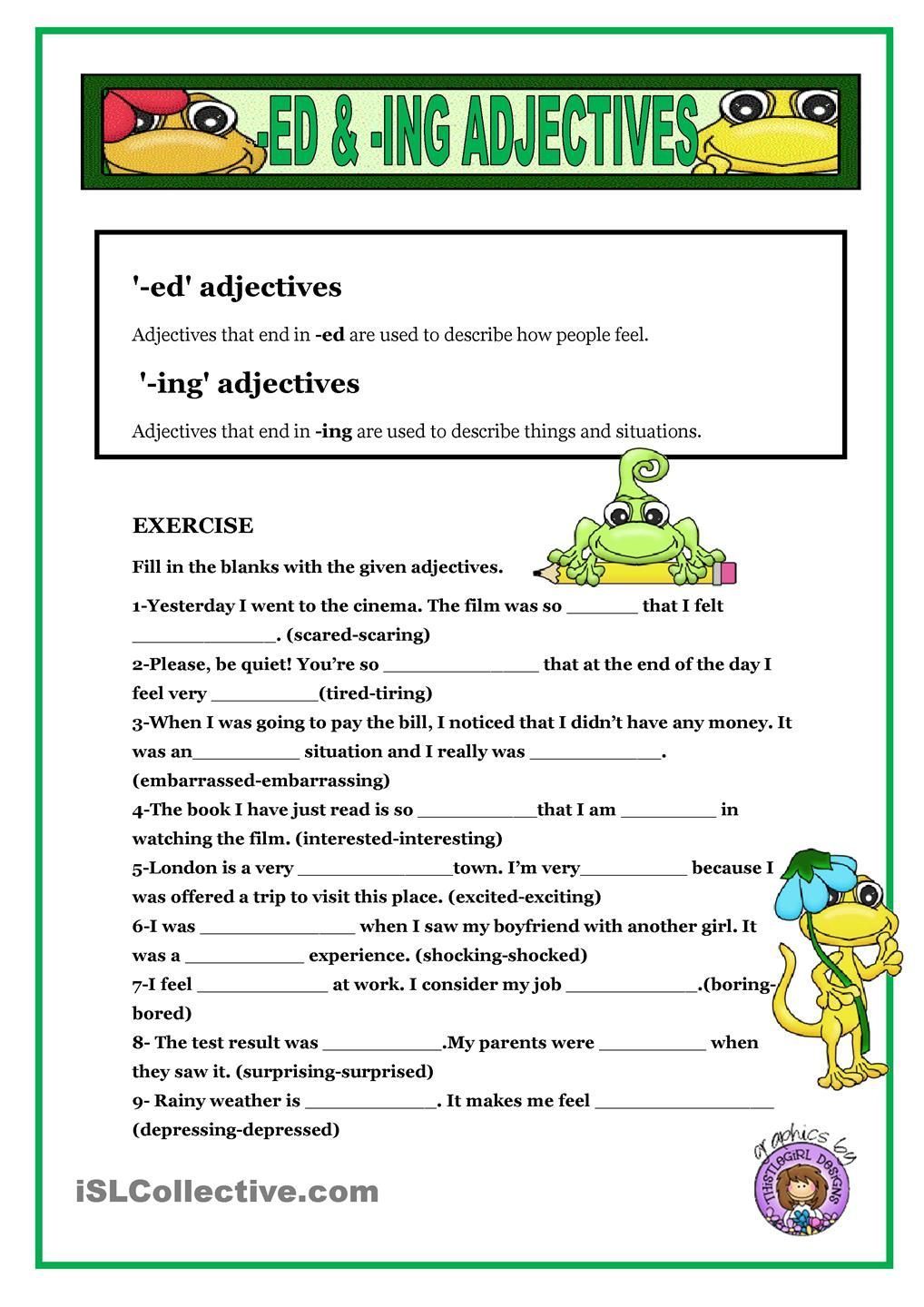 worksheet Ed Ing Worksheets english daily workout present perfect continuous questions ed ing adjectives