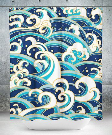 Ocean Waves Shower Curtain Zulily Zulilyfinds Wave Art Wave
