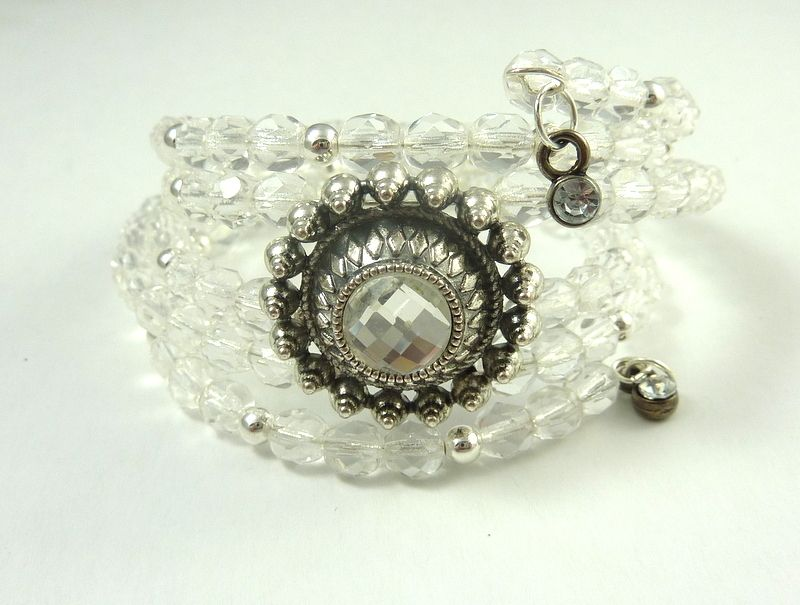 Crystal and Silver Wrap Bracelet