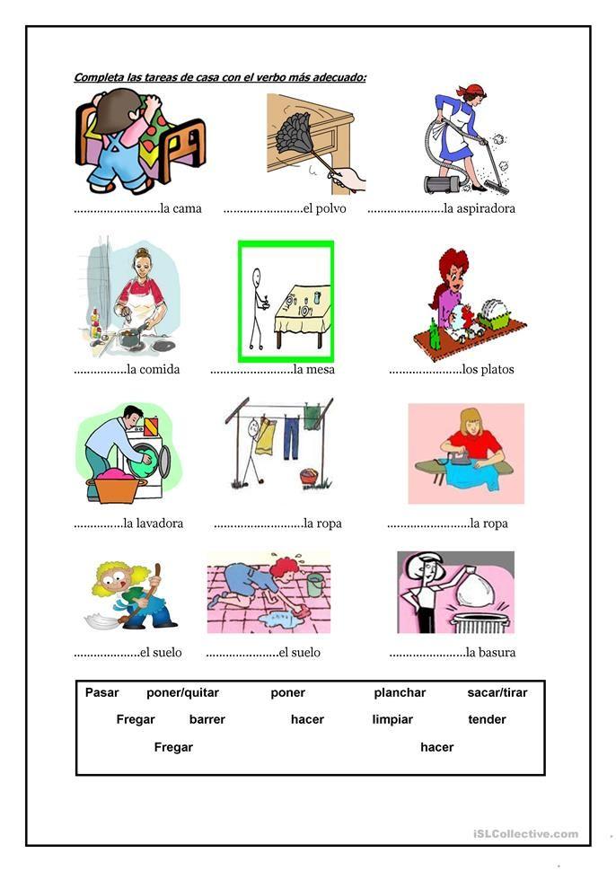 las tareas de la casa | Tareas | Spanish language learning, Learning ...