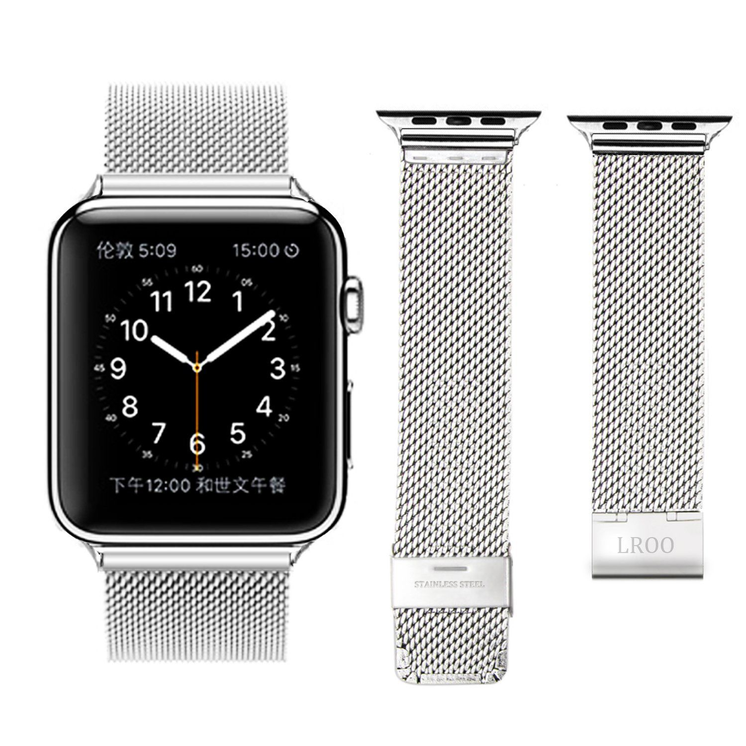 Amazon Com Apple Watch Band Lroo Stainless Steel Mesh Replacement Strap Wrist Band With Metal Clasp For Apple Watch Sport Edition Silver Big Mesh 42mm