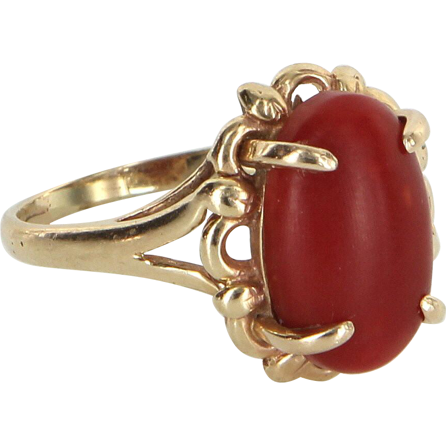 5d5158215 Ox Blood Red Coral Cocktail Ring Vintage 14 Karat Gold Estate Fine Jewelry  Pre Owned