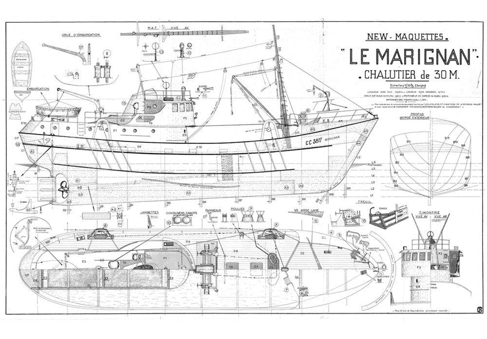Plans De Bateaux De Peche Le Marignan Plans De Bateau Maquettes De Bateaux Bateaux De Peche