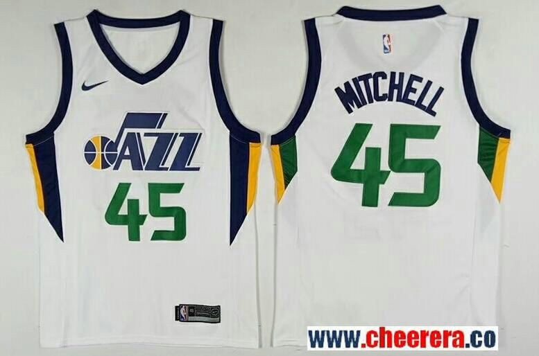 Men s Utah Jazz  45 Donavan Mitchell White 2017-2018 Nike Swingman Stitched  NBA Jersey 35c9c45c3