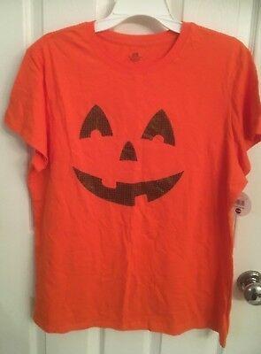 (eBay link) Orange Halloween Jack O Lantern T shirt; youth size XL 16/18 NWT; Easy Costume #affilink #halloween #happyhalloween #halloween2017 #easycostumesformen