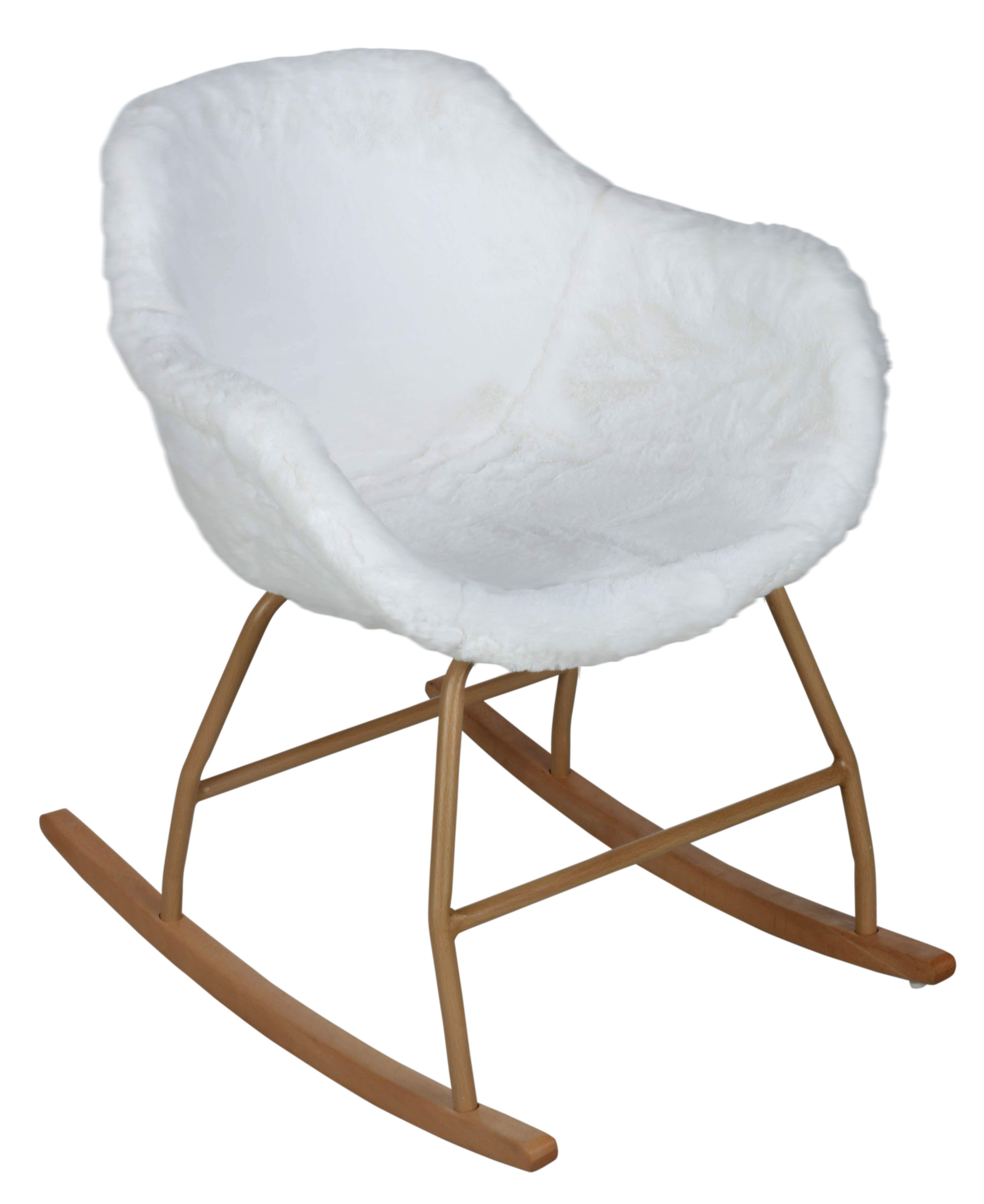 Rocking Chair Cocooning Iceberg Blanc Chambre Moderne En
