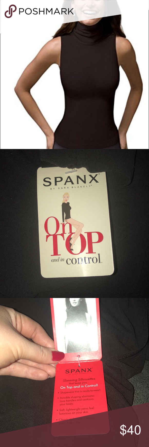 spanx on top and in control sleeveless turtleneck sleeveless