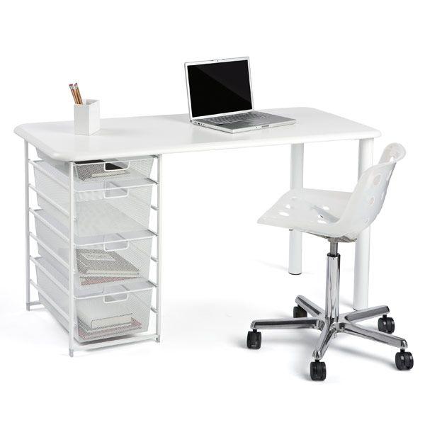 Superb Elfa Mesh Component Desk With Rounded Edge Homeoffice Machost Co Dining Chair Design Ideas Machostcouk