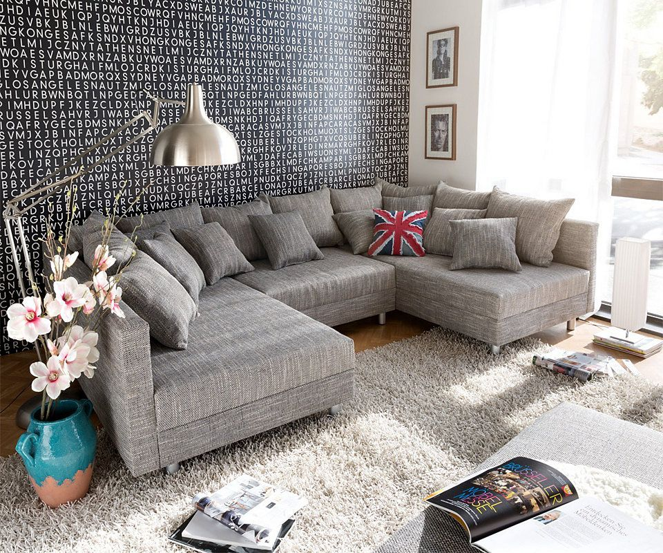 delife couch clovis schwarz mit hocker wohnlandschaft wohnzimmer pinterest sofas sofa and. Black Bedroom Furniture Sets. Home Design Ideas