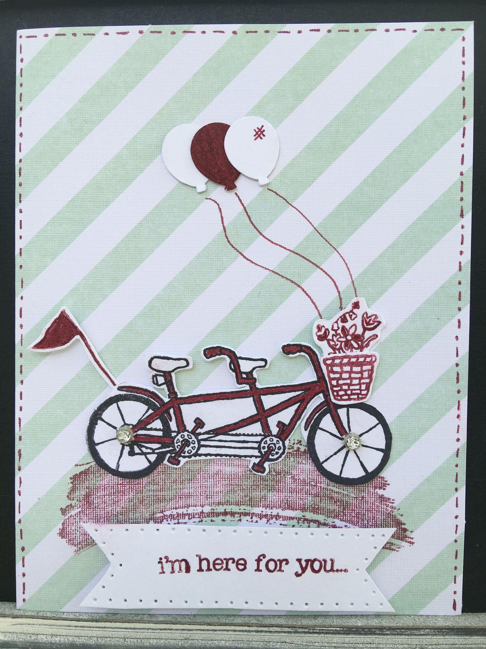 Card 1  I used Stamp Pedal Pusher  SU Markers Raspberry Ripple