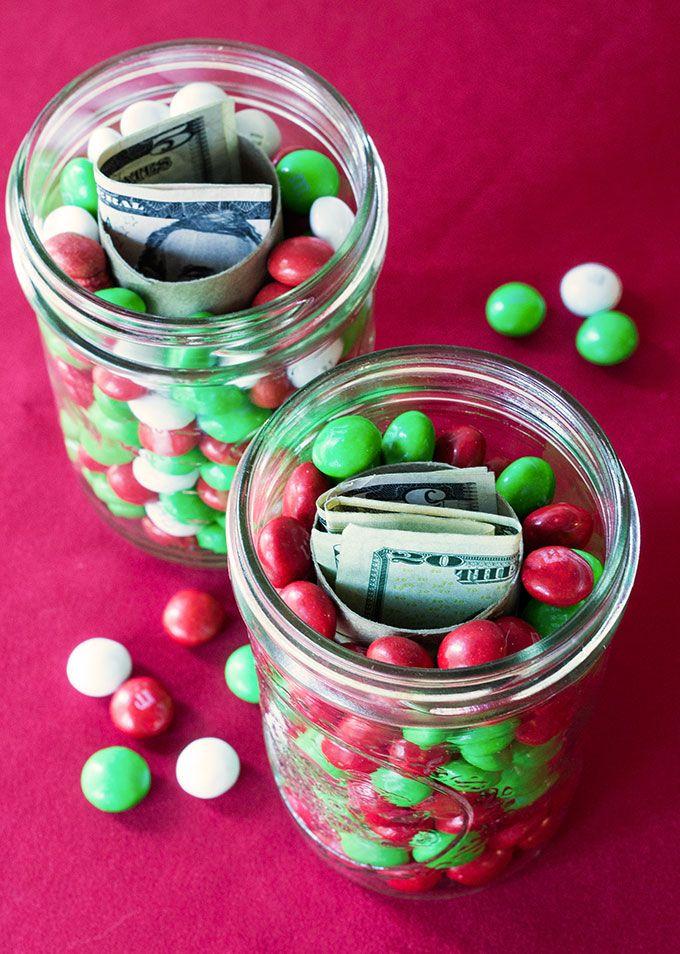 Holiday Gift Idea Hidden Money Candy Jars Christmas Candy Gifts Christmas Jar Gifts Money Gift