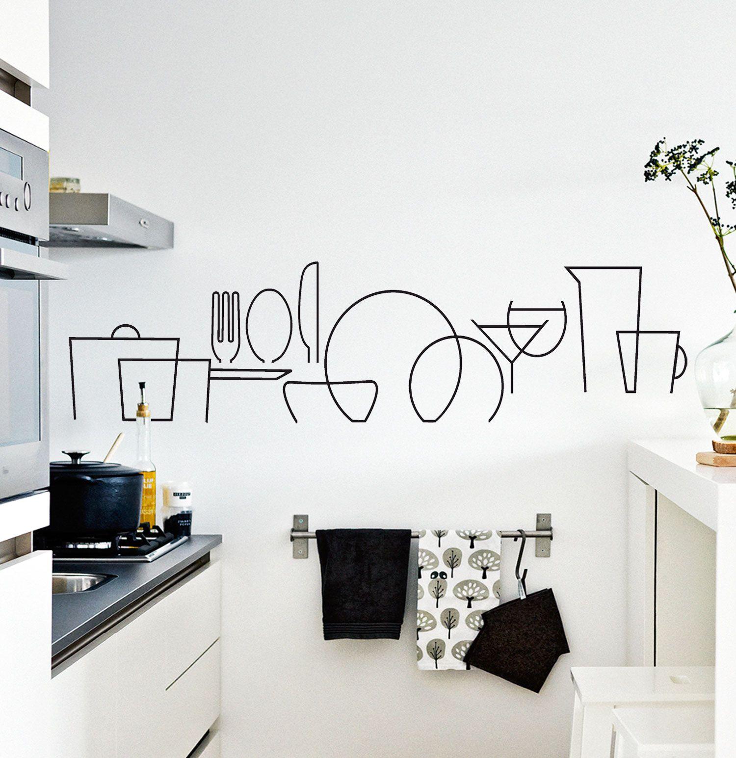 Vinilo decorativo para cocinas muy bonito en la pared o for Vinilos de cocina