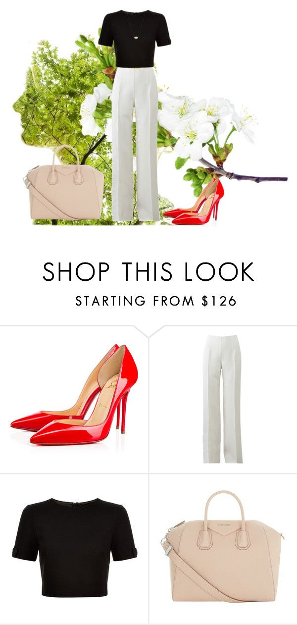 """""""My red red shoes"""" by ratsame on Polyvore featuring Christian Louboutin, Michael Kors, Ted Baker, Givenchy and Kendra Scott"""