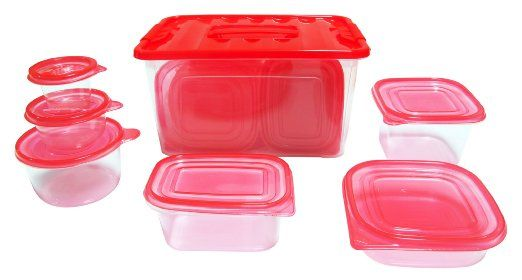 Reusable plastic #foodcontainer set with air tight lids which help you preserve food longer. Set includes 54 pieces. Great for everyday use. Stackable for easy organization & very easy to clean.  They can be used in the microwave or freezer. Please do not forget to wash them before using.