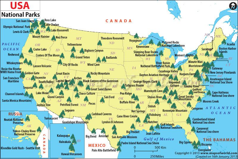Us Map Showing National Parks Pin on The World is Mine!
