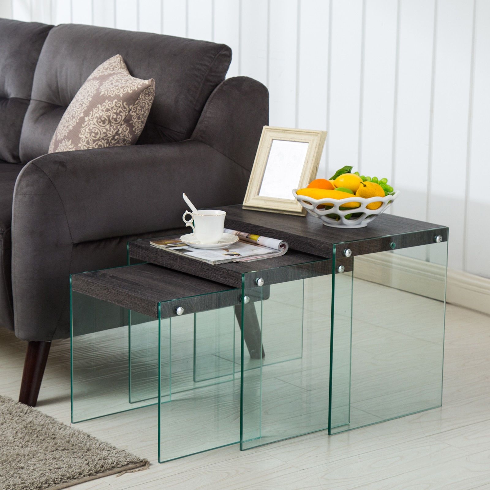 Modern nest of 3 coffee table side table end table living room furniture ebay