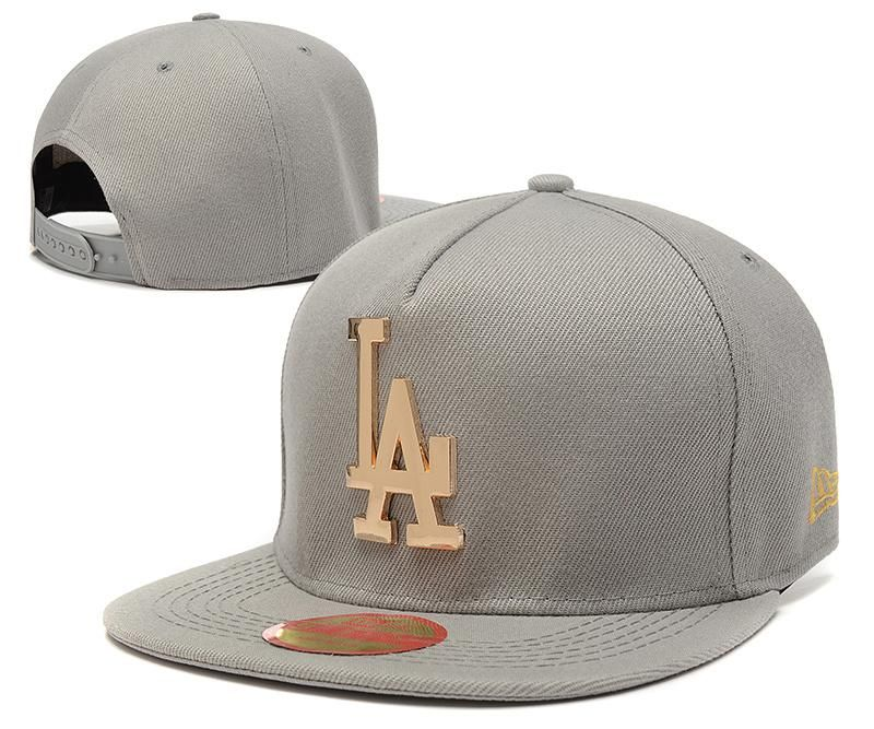2c93a12fca2be Men's Los Angeles Dodgers New Era 9Fifty Gold Metal LA Logo A-Frame  Baseball Snapback Hat - Grey