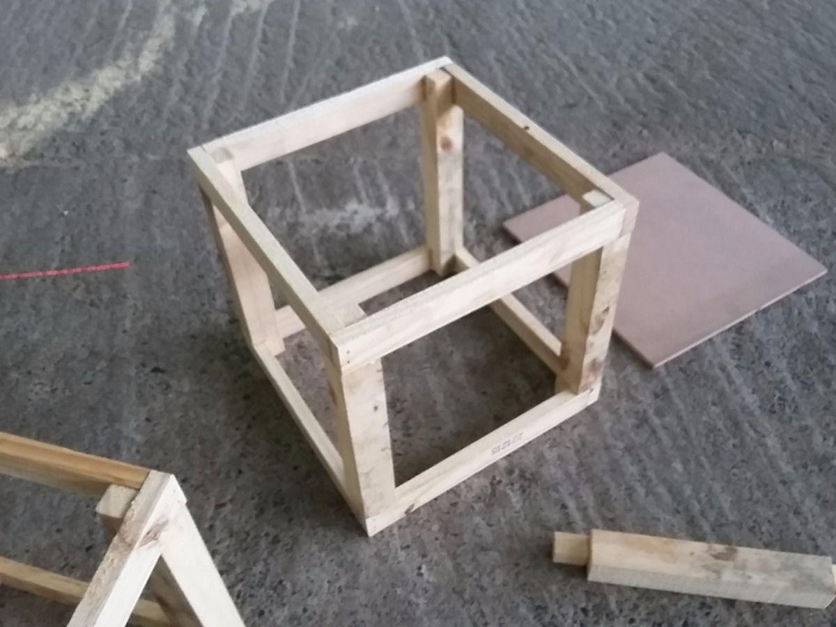 Esqueleto estructura puff en madera para tapizar sill n - Como tapizar sofa ...
