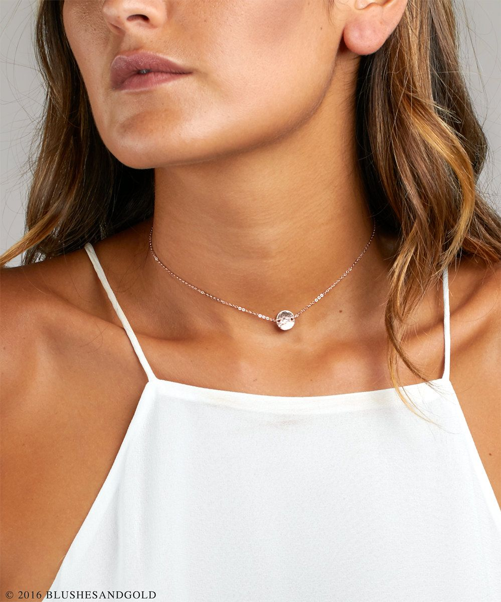 Gold Choker, Initial Necklace, Rose Gold Choker, Coin Disc