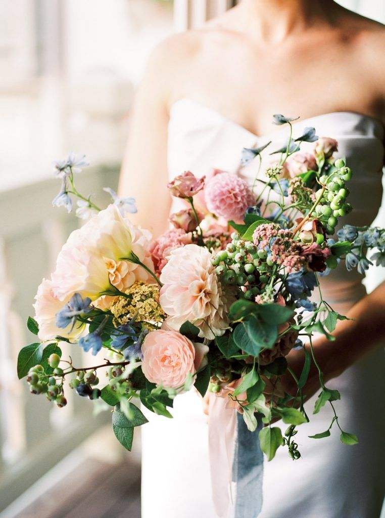 Colorful Bridal Bouquet With Pink Blush Dusky Blue And Light